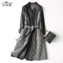 Chaqueta de cuero genuino abrigo de lana para mujer Otoño Invierno piel de oveja abrigo largo chaquetas de mujer Vintage Splice Veste En Cuir Femme 68522