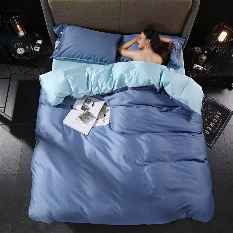 2018 brand bedding set king size pure color fashion bed linen cotton satin duvet cover reactive