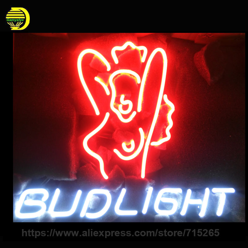 Bud <font><b>Light</b></font> Girl Neon Sign Neon <font><b>Light</b></font> Room Neon Bulbs handmade Glass Tube Advertise Iconic Sign Lamps Store Display In Stock 17x14