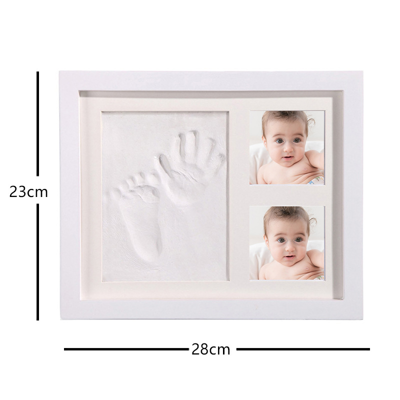 Купить с кэшбэком Baby Handprint Footprint Photo Picture Frame Kit Baby Clay Molds Newborns Kids DIY Gift Souvenir