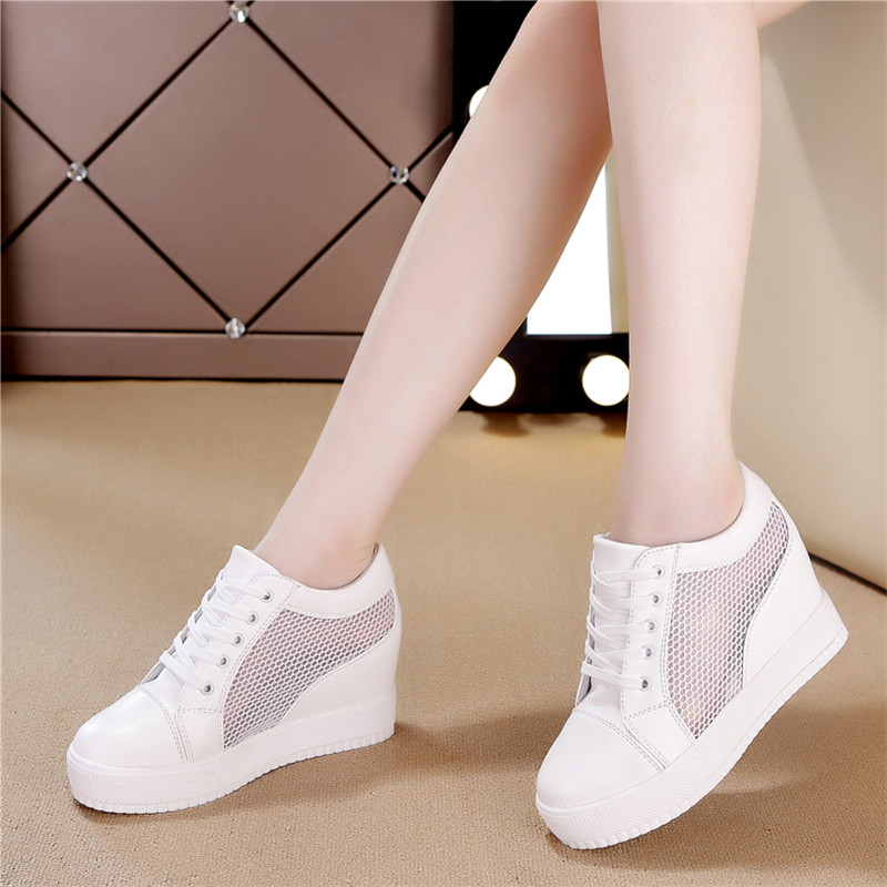 Women Wedge Platform Rubber Brogue Leather Lace Up High Heel 7 Cm Shoes Pointed Toe Increasing Creepers White Silver Sneakers
