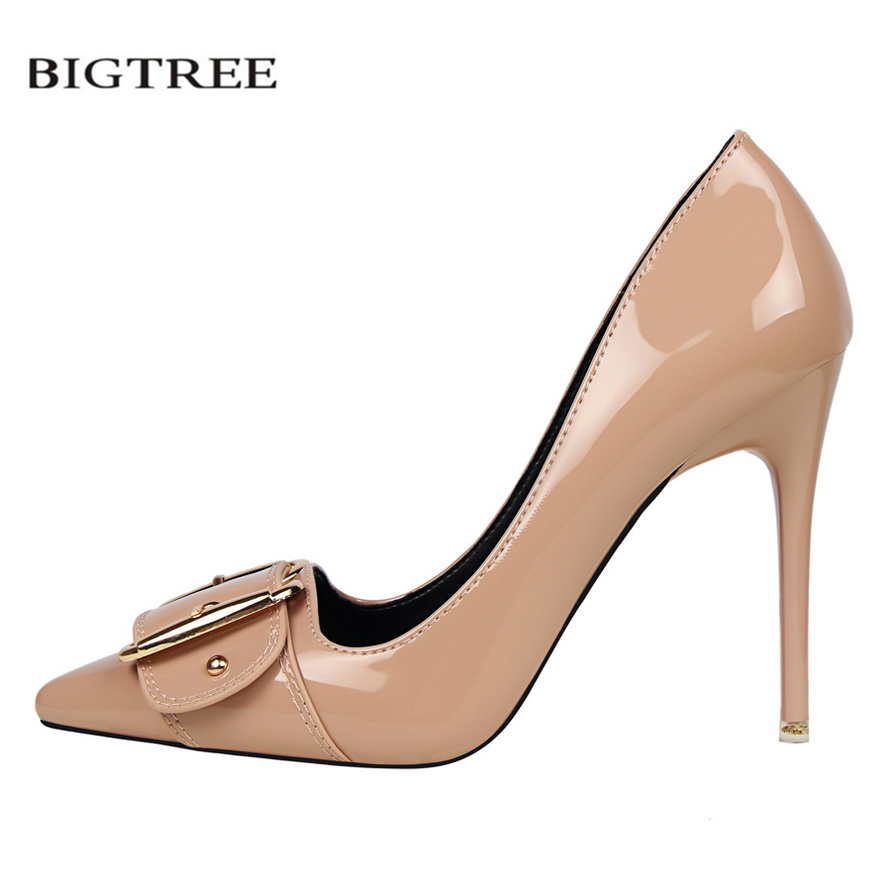 BIGTREE Women Pumps Thin Heeled High Heels Shoes Sexy Pointed Patent Leather Metal Buckle Buckle Women Heeled Stiletto G2586-18 p23128 women patent leather thin heel pumps elegant pointed head stiletto fashion simple style ladies heeled shoes size 33 42