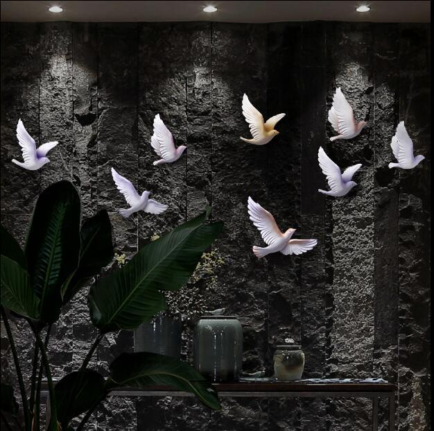 EEN set van 8 stks 3D Hars Vogel Woondecoratie Driedimensionale Muur Decor Muurstickers Creatieve Woonkamer Decoratie Ambachten - 4