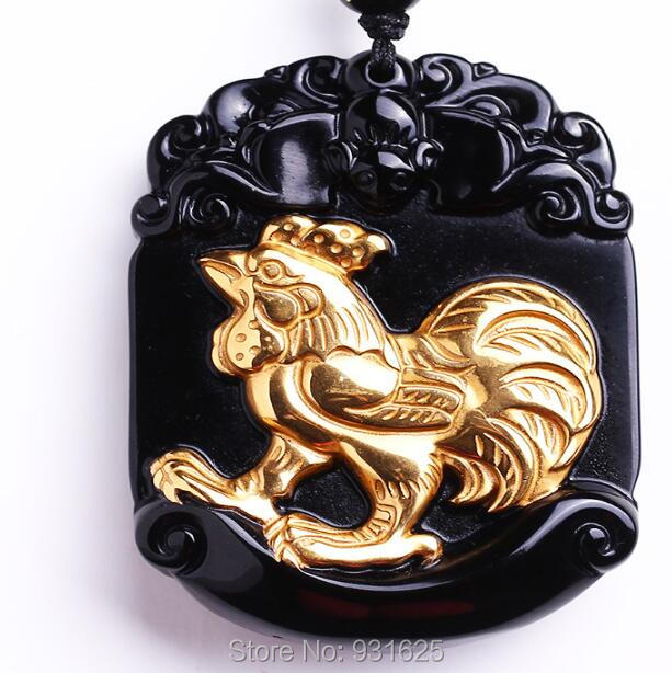 Beautiful Natural Black Obsidian Carved Gold Plated Chinese Zodiac Cock Lucky Amulet Pendant + free Necklace fashion Jewelry