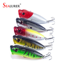 SEALURER Brand 5pc Fishing Lures 5 colors Popper Lure 2.8″-7cm/0.39oz-11g fishing bait 6# high carbon steel hook fishing tackle