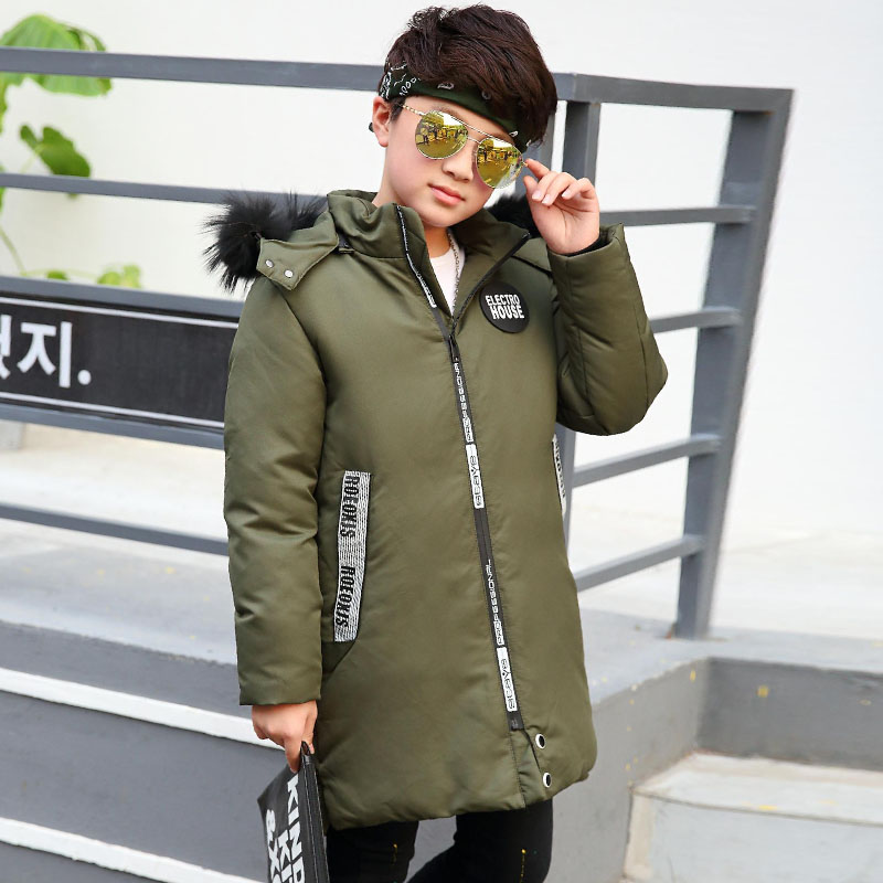 2017 Winter New Thickening Warm Down Coat Children Fashion Sports Down Jackets & Coats Boys Casual Long Section Down Jacket Boy boys fleece jackets solid coat kid clothes winter coats 2017 fashion children clothing