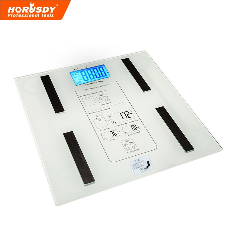 HORUSDY 396 lb Body Fat Scale Multifunction LCD Display Digital Electronic Touch Digital Bath Scale White y9000 smart body fat scale digital bathroom scale
