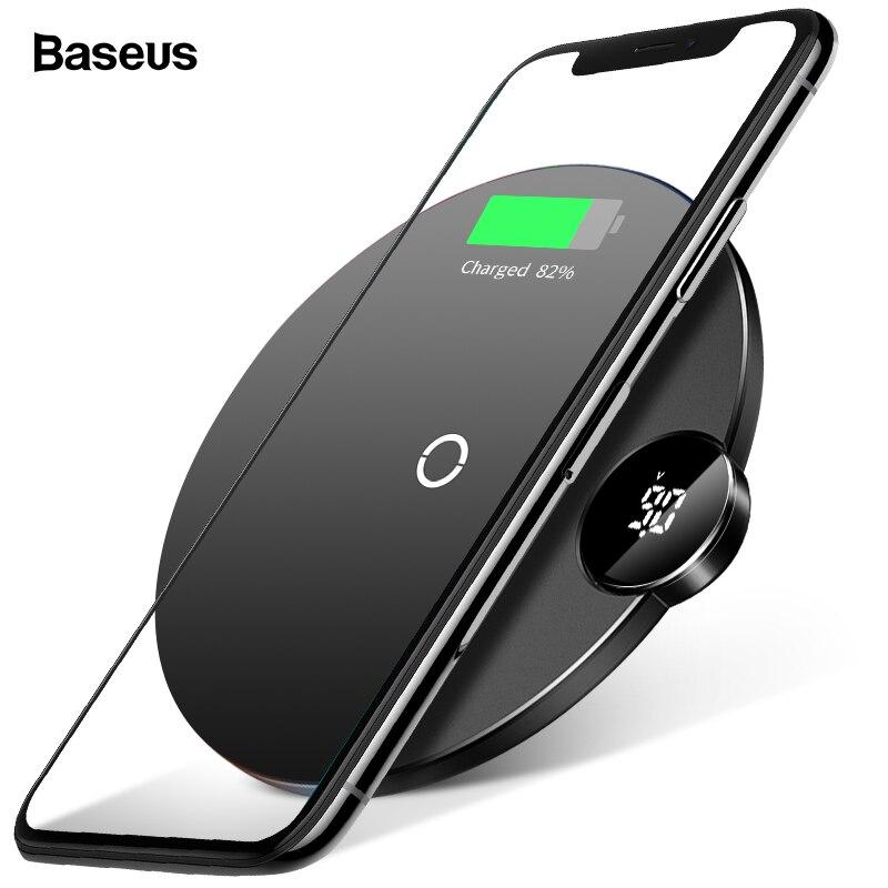 Baseus светодиодный Qi Беспроводной Зарядное устройство для iPhone Xs Max X 8 10 W быстрая Wirless Беспроводной зарядного устройства для samsung S10 S9 Xiaomi mi 9 mi X 3