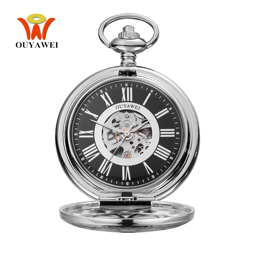 Original Fashion Brand OYW Mechanical Pocket Watch Men Male Full Steel Case Pocket Fob Watch Analog Clock Steampunk Men Relogio