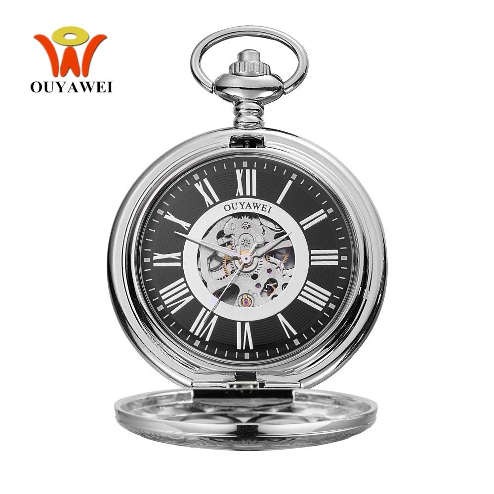 Original Fashion Brand OYW Mechanical Pocket Watch Men Male Full Steel Case Pocket Fob Watch Analog Clock Steampunk Men Relogio