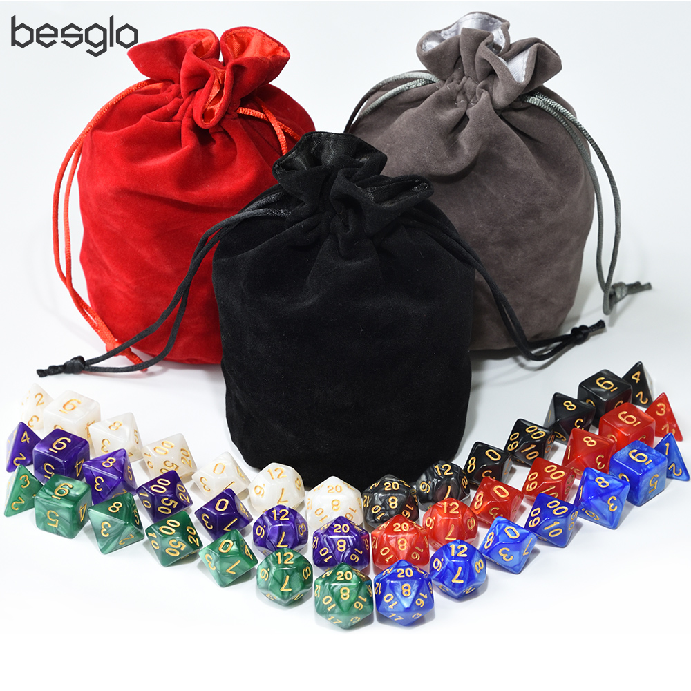 6 Set Pearlized Plastic Dice with Big Velvet Pouch for Board Games RPG Dice Golden Numbers
