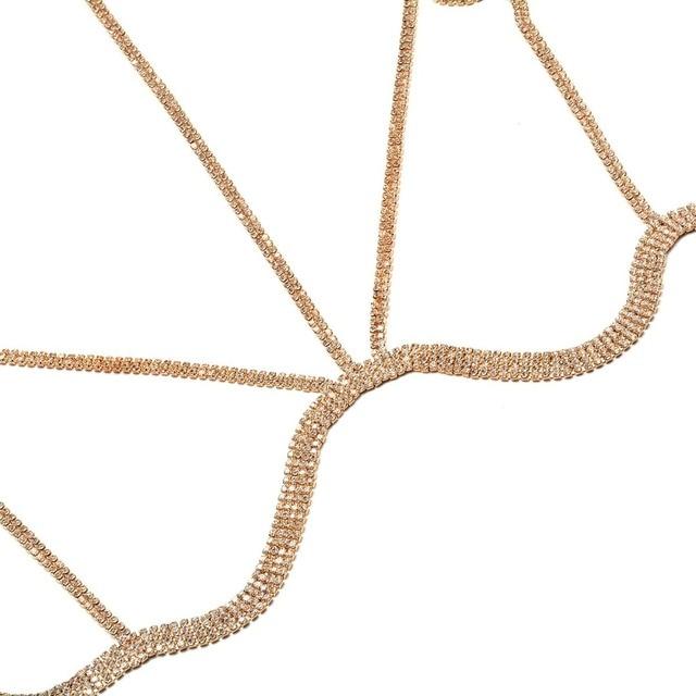 Rhinestone Multilayer Rows Crystal Bra Chain1