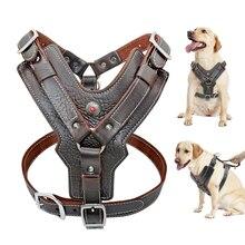 耐久性のある犬用ハーネス大型犬の本革ハーネスペットトレーニングベストと制御ハンドルラブラドールのためのピットブル K9