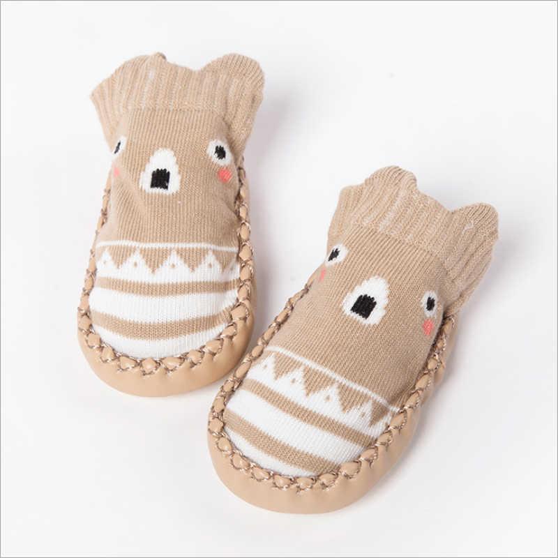 1 par de calcetines de bebé de diseño de animales de dibujos animados para niños recién nacidos calcetines con suela de goma de cuero Pu antideslizante zapatos de piso de algodón 2017 Nuevo