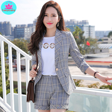 Лучший!  2019 весной и летом новый женский корейский стиль чистый красный сингл костюм короткое пальто профес
