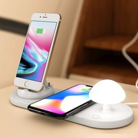 Wireless Phone Charger with LED Night Light Magnetic Attraction Fast USB Charging mushroom desk night light