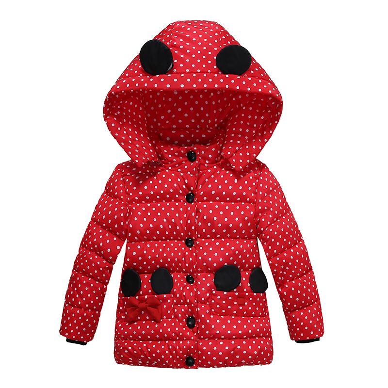 2 Bibihou Winter Coats Kids Clothes Children Clothing Cotton Girl Coat Jacket Fashion Warm Outerwear Jackets For Girls Minnie dot