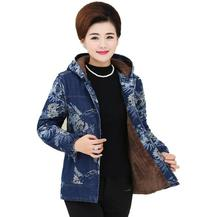 New Middle Aged Women Long Sleeve Printed plus thick velvet Denim Jacket Overcoat Jean Coats Plus Size Ladies Outwear s61