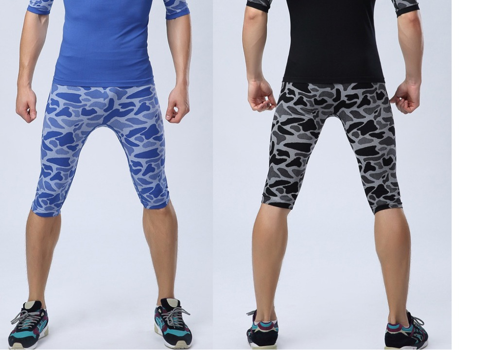 New Arrival Leopard Print Men Running Pants Quick Dry Breathable Sports Calf Length Pants Male Fitness Capri Pant Free Shipping Commodities Are Available Without Restriction Sports & Entertainment