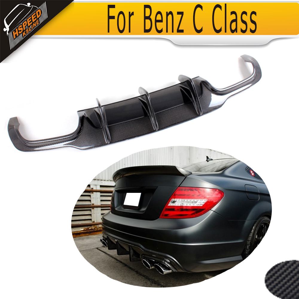 For W204 C63 Carbon Fiber Rear Lip Spoiler Diffuser for Mercedes Benz W204 C63 AMG C300 Sport 2012 - 2014 A Style Grey FRP