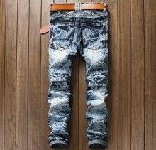 European American Style 2017 marque de mode designer hommes jeans de haute qualité Hommes casual denim pantalon Trou Mince jean Droit