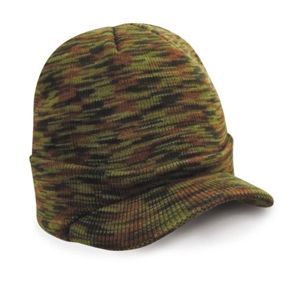 2017 de lana de punto casquillo enarbolado ejército Beanie hat Otoño  Invierno Caliente Wooly mens Cadet Cap mujeres hombres visor beanies e0932a2ec6d
