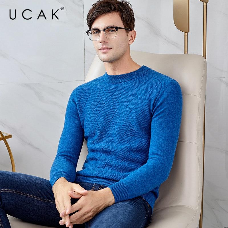 UCAK Brand Merino Wool Sweater Men Autumn Winter Soft Warm Cashmere Mens Sweaters 2019 New Arrival Pull Homme Pullover Men U3028
