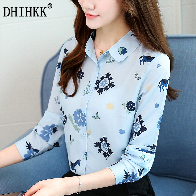 DHIHKK Official Store DHIHKK 2017 Elegant Blouse Shirts Women New Arrivals Autumn Long Sleeve Shirt Floral Print Blue Blusas Top Tees