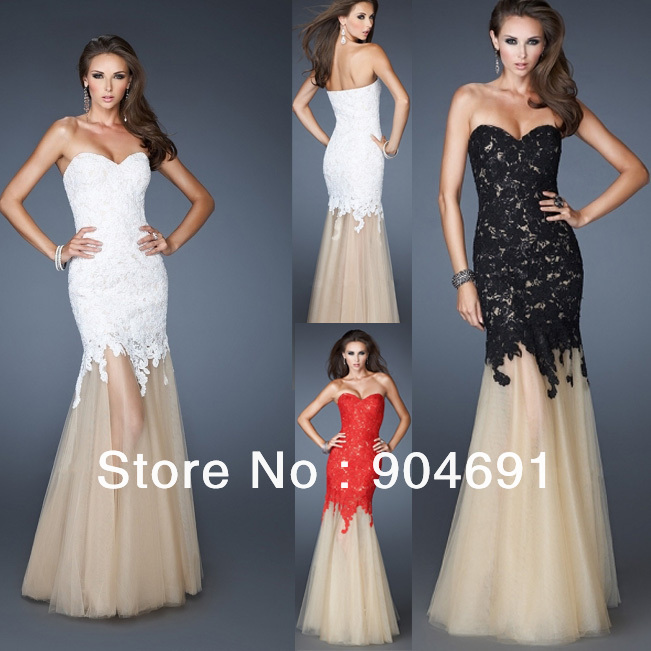 Mermaid Evening Dress Strapless Red White Blue Black Lace Nude Tulle
