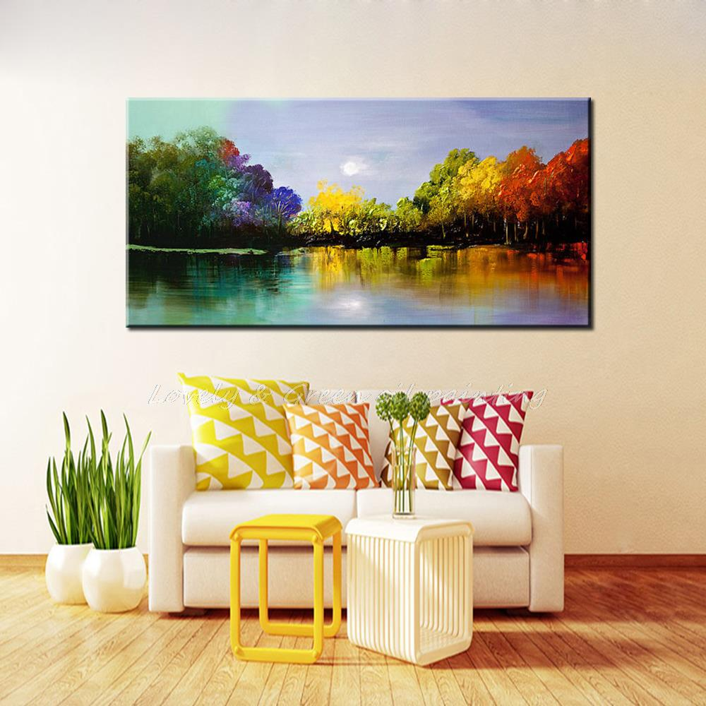 100% Handpainted Landscape The Four Seasons Trees Oil Painting On ...