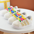 2017 Children casual Fashion Kids Boys Girls Shoes Sport Shoes with Rainbow lace-up 2colors Baby  Shoes 21-30 for 1-6year