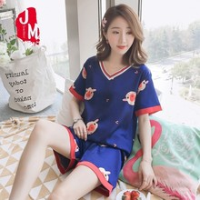 XXXXXL Silk Pajamas For Women Satin Sets Shoer Sleeves Pyjamas Turn-down Collar Pocket Decor