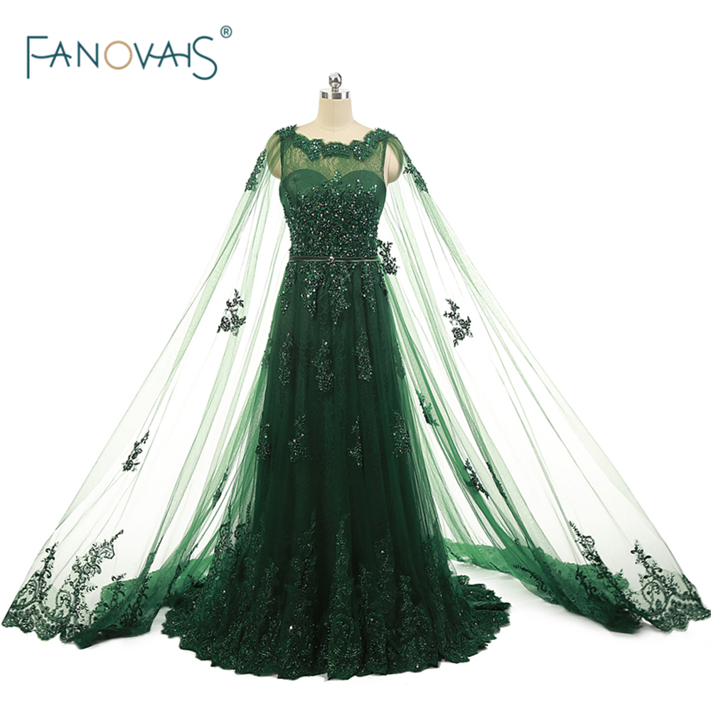 Real Photo Green Evening Dresses With Cape 2019 Caftan Dubai Vestido De Fiesta Beaded Lace Evening Gown Long Dress Formal ASAE29