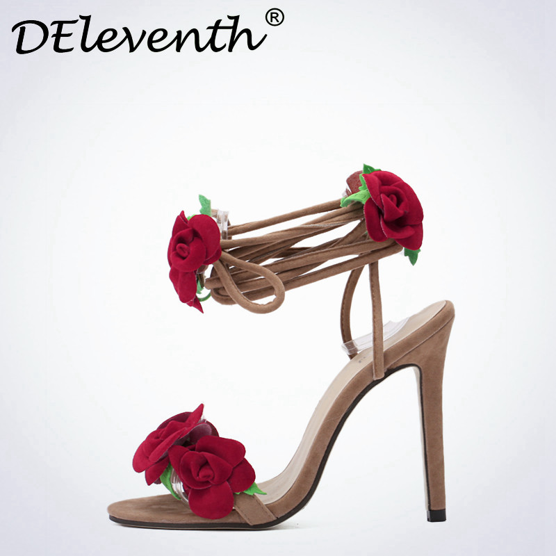 Sweet Red Rose Flower Sexy Dress Wedding Shoes Women Cross Lacing Ankle Strap Peep Toe High Heels Sandals Floral Shoes Woman 42 2017 summer sweet girl pink floral rhinestone buckle strap high heels women crystal sandals peep toe woman party wedding shoes