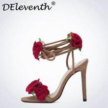 Сладкий Красная роза цветок сексуальное платье свадебные туфли Для женщин Шнуровка крест-накрест Ремешок на щиколотке Босоножки на высоком каблуке с открытым носком цветочный Обувь женщина 42