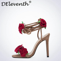 Sweet Red Rose Flower Sexy Dress Wedding Shoes Women Cross Lacing Ankle Strap Peep Toe High Heels Sandals Floral Shoes Woman 42