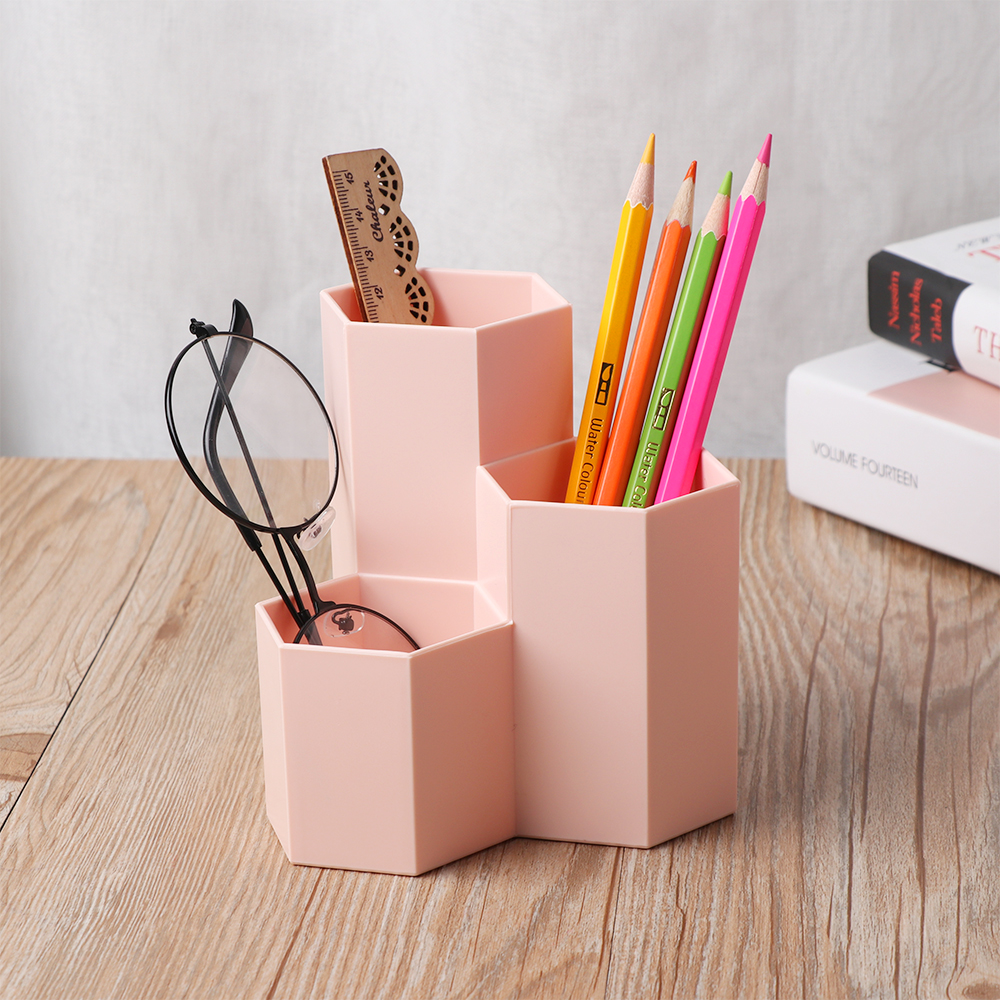 Lovely 1pc Novelty Hexagon Pencil Pen Holder Desk Storage Box Organizer Business Desktop Stationery Office School Gift Pen Holders