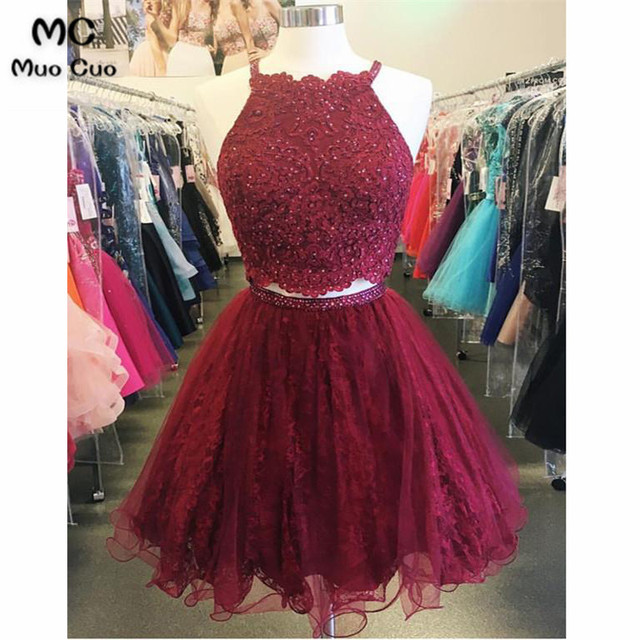 12d27626cc51 Two Pieces Gown 2018 Burgundy Short Graduation Homecoming Dresses with  Beaded Appliques Homecoming Cocktail Party Dress Short