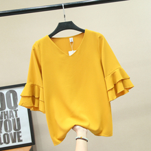 Women's Chiffon Blouse Summer 2019 New Fashion All-match Solid color V-neck Ruffles Short-sleeve Shirt Loose Tops Tees Female fenix are c2