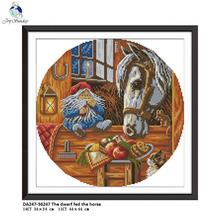 The Dwarf Feding the Horse Embroidery 11CT Printed Fabric 14CT Canvas DMC Counted DIY Chinese Cross Stitch Kits  Needlework