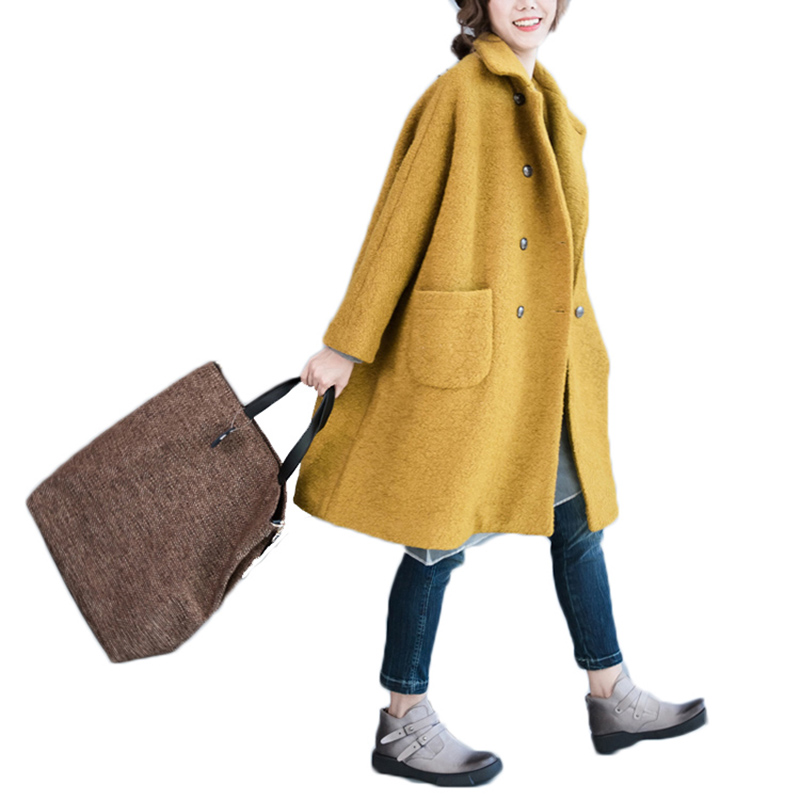 Nicesense abrigos mujer invierno winter wool coat women Vintage Wool Coats Winter plus size overcoat Thick