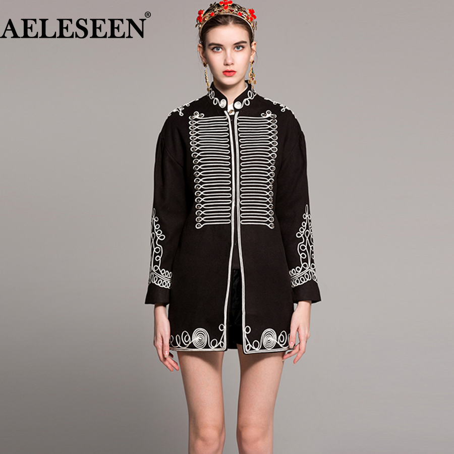 AELESEEN Vintage Black Warrior Coats Fashion 2018 Winter Spring Fashion Full Sleeve Wool Line Embroidery Button Warm New Coat