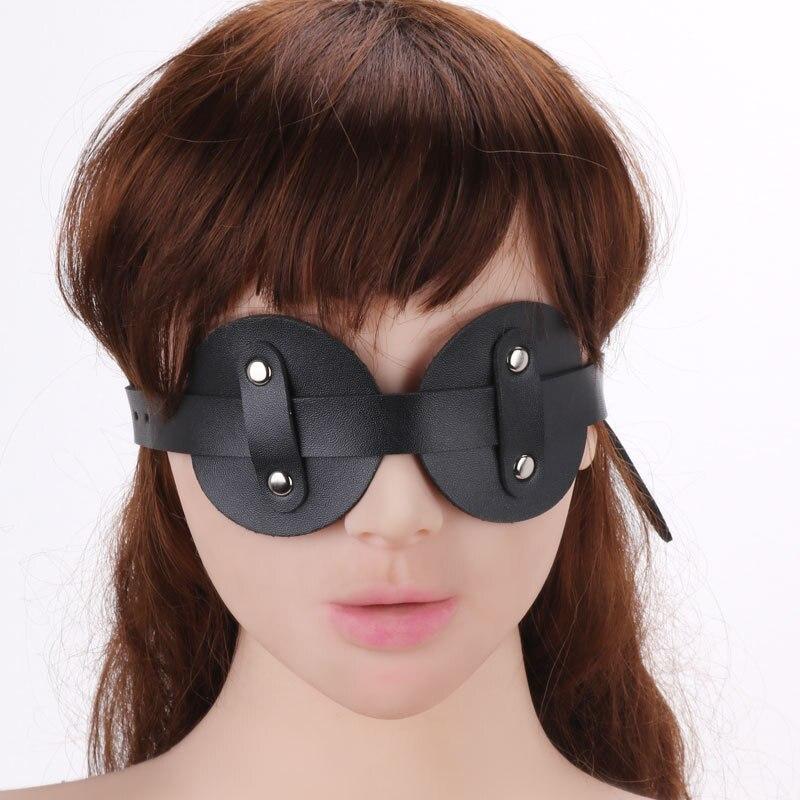 Chastity Lock Eye Mask Pu Leather Bondage Blindfold Adult Game Sexy Blindfold Virgin lock
