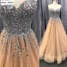5e4f3e95e Luxe Champagne Formele Prom Avondjurk 2019 Lange Tule Jurk Heavy Kralen Crystal  Vestidos De Gala Partij Jassen