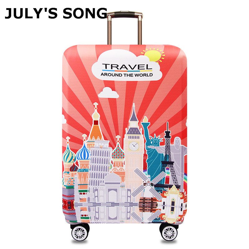 JULY'S SONG New Design Protective Luggage Cover Waterproof Travel Luggage Cover Suit For 18-32 Inch Case Elastic Suitcase Cover