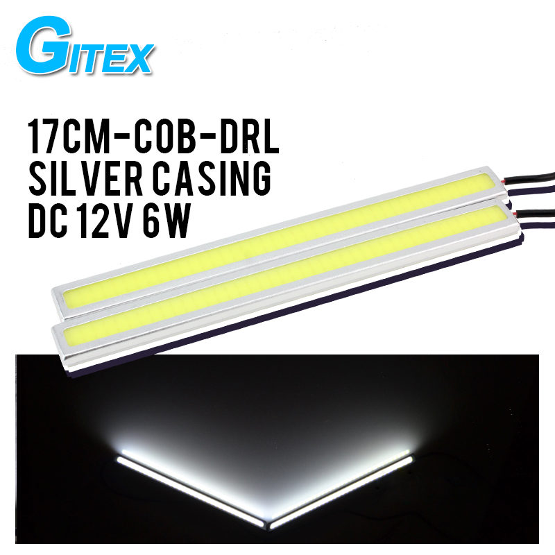 2pcs/Lot 100% Waterproof COB LED DRL Daytime Running Light Bar parking Lamp For Universal Car Styling Free Shipping 2pcs square 21cm bendable led daytime running light 100