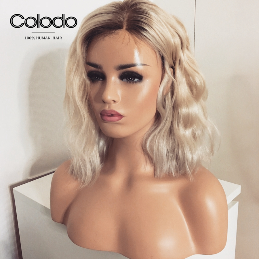 COLODO Preplucked 13X4 Remy Brazilian 613 Lace Front Wig With Baby Hair Grey Short Wavy Bob Lace Front Human Hair Wigs For Women