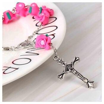 Catholic soft ceramic beads rosary bracelet. Rose blessing prayer bracelet, charming children's baptism bracelet 48 pieces