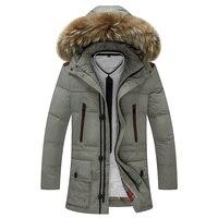Hot Sale Autumn Winter Men Thick Warm Parkas Outdoor Coat Men Fake Fur Collar Jacket Fashion