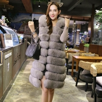2018 Faux Fur Vest Women Hooded Cap Autumn Winter Sleeveless Jacket Coats Thicken Warm Fake Fox Fur Coat Casual Colete Waistcoat